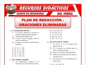 Ficha de Ejercicios de Plan de Redacción y Oraciones Eliminadas para Cuarto de Secundaria