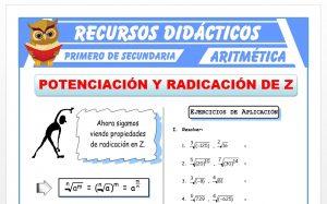 Ficha de Ejercicios de Potenciación y Radicación para Primero de Secundaria