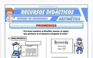 Ficha de Ejercicios de Promedios para Tercero de Secundaria