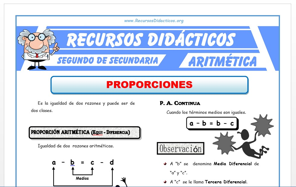Ficha de Ejercicios de Proporciones para Segundo de Secundaria