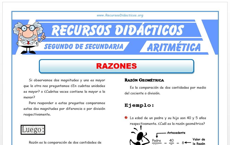 Ficha de Ejercicios de Razones para Segundo de Secundaria