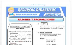 Ficha de Ejercicios de Razones y Proporciones para Quinto de Secundaria