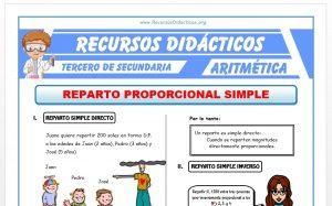 Ficha de Ejercicios de Reparto Proporcional para Tercero de Secundaria