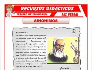 Ficha de Ejercicios de Sinónimos para Tercero de Secundaria