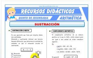 Ficha de Ejercicios de Sustracción para Quinto de Secundaria