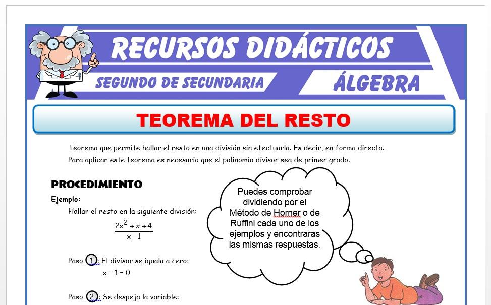 Ficha de Ejercicios de Teorema del Resto para Segundo de Secundaria
