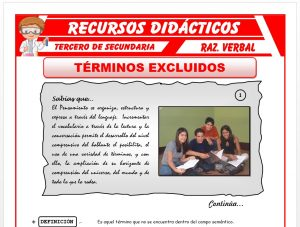 Ficha de Ejercicios de Términos Excluidos para Tercero de Secundaria