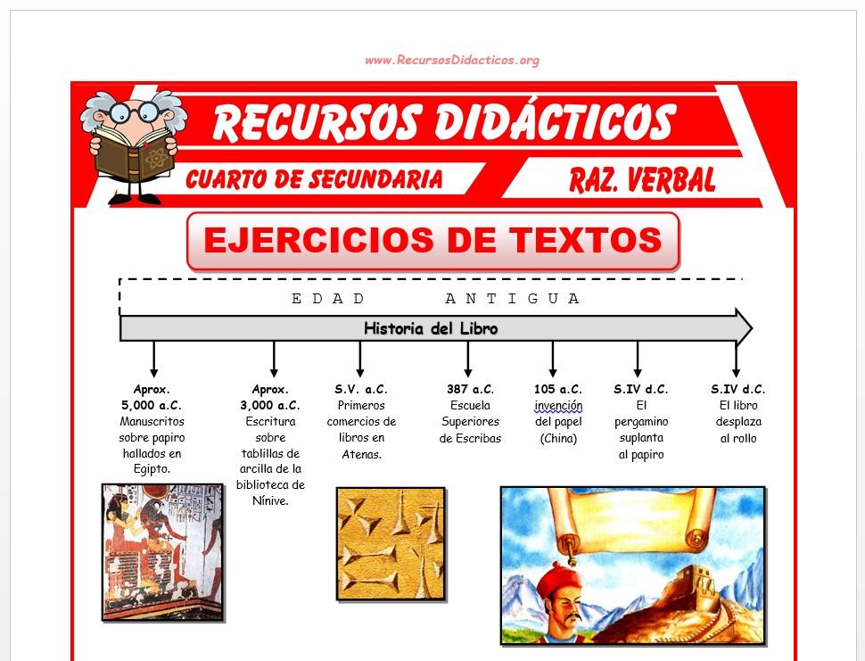 Ficha de Ejercicios de Textos para Cuarto de Secundaria