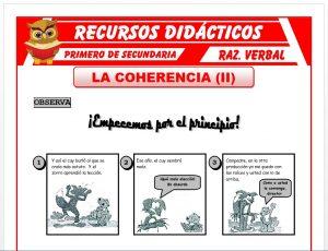 Ficha de Ejercicios de la Coherencia para Primero de Secundaria