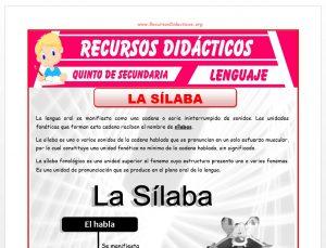 Ficha de Ejercicios de la Sílaba para Quinto de Secundaria