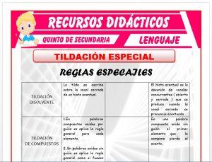 Ficha de Ejercicios de la Tildación Especial para Quinto de Secundaria