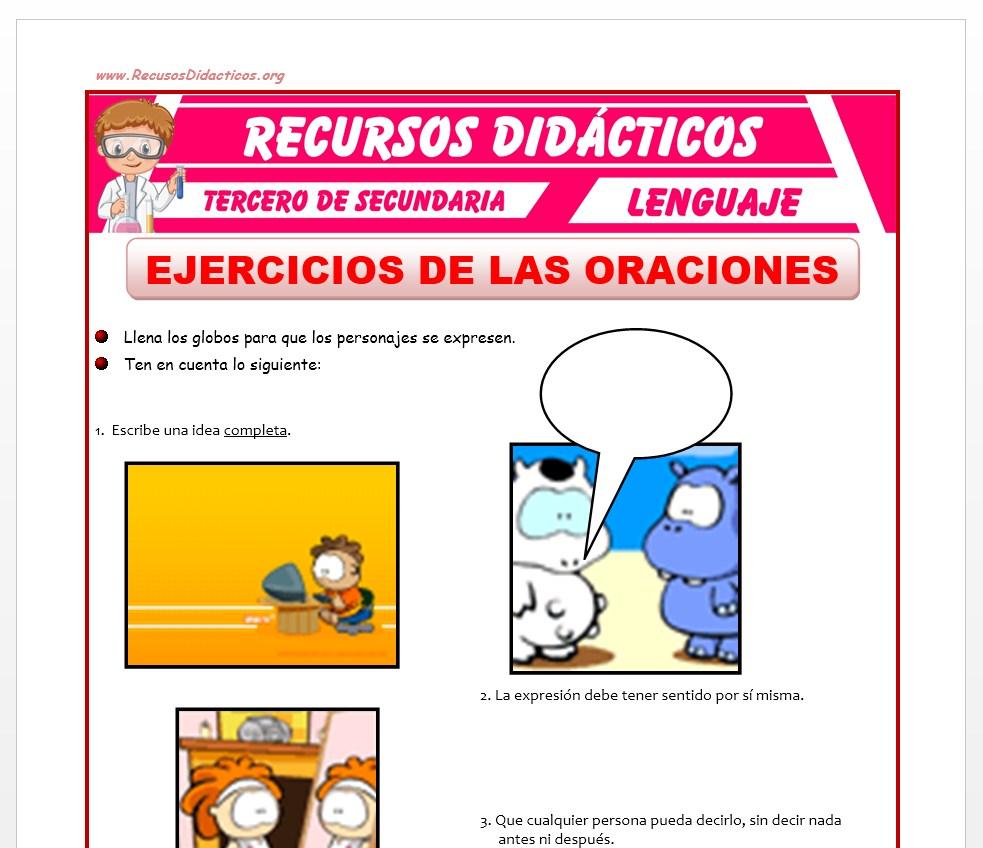 Ficha de Ejercicios de Las Oraciones para Tercero de Secundaria