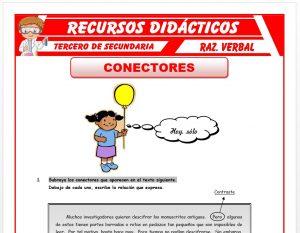 Ficha de Ejercicios de los Conectores para Tercero de Secundaria