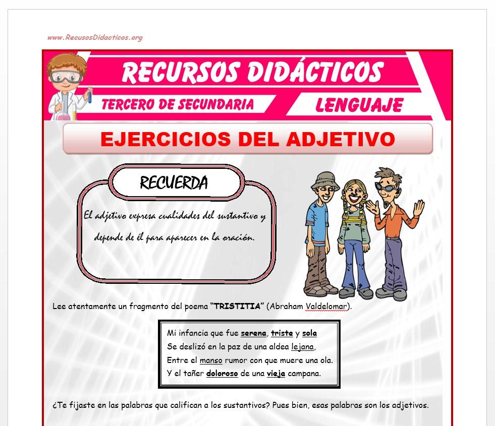 Ficha de Ejercicios del Adjetivo para Tercero de Secundaria