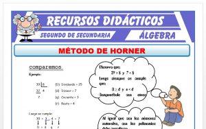 Ficha de Ejercicios del Método de Horner para Segundo de Secundaria