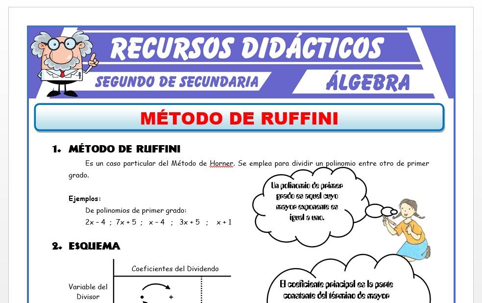Ficha de Ejercicios del Método de Ruffini para Segundo de Secundaria