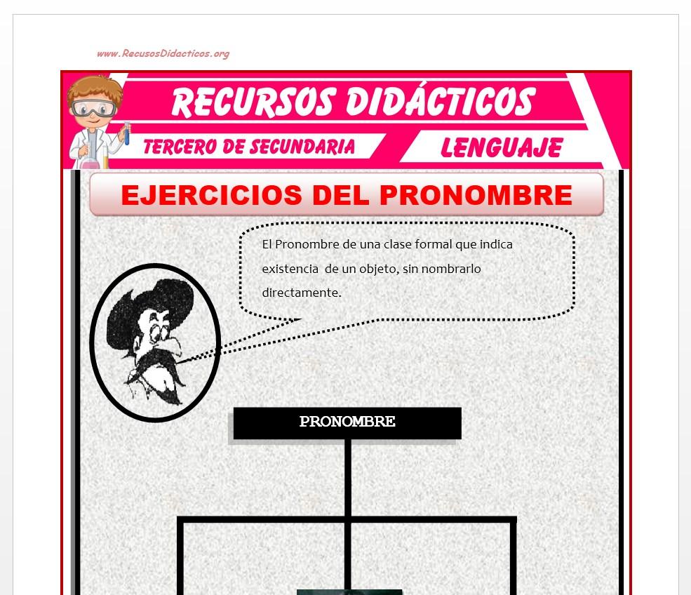 Ficha de Ejercicios del Pronombre para Tercero de Secundaria