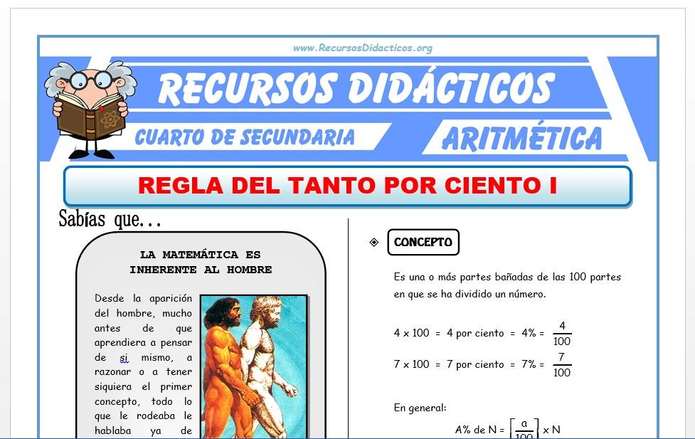 Ficha de Ejercicios del Tanto por Ciento para Cuarto de Secundaria
