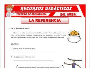 Ficha de Ejercicios sobre la Referencia para Tercero de Secundaria