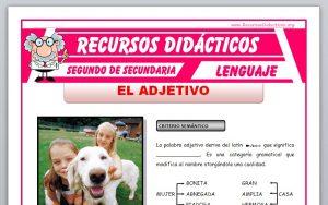 Ficha de El Adjetivo para Segundo de Secundaria