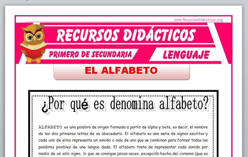 Ficha de El Alfabeto para Primero de Secundaria