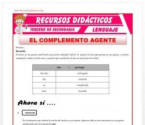 Ficha de El Complemento Agente para Tercero de Secundaria