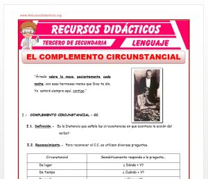 Ficha de El Complemento Circunstancial para Tercero de Secundaria