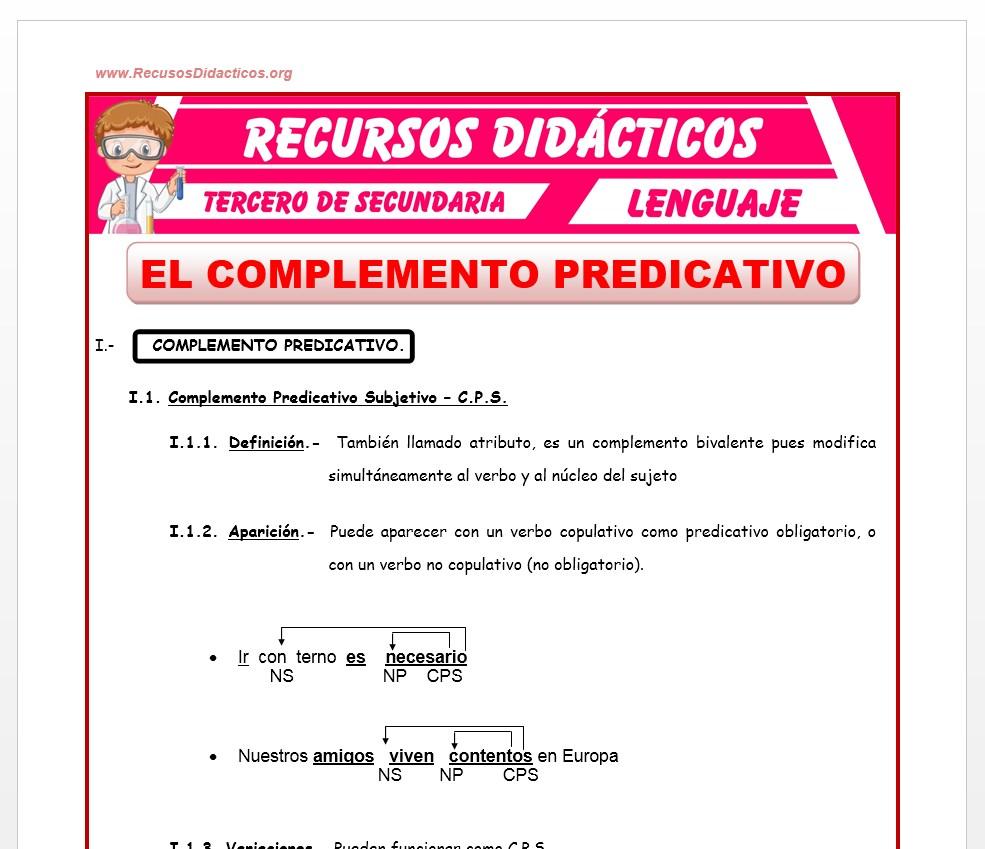 Ficha de El Complemento Predicativo para Tercero de Secundaria