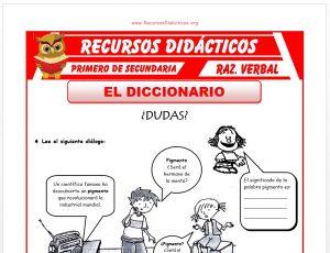 Ficha de El Diccionario para Primero de Secundaria