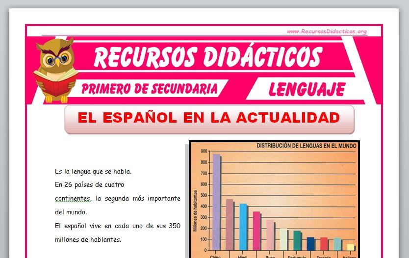 Ficha de El Español en la Actualidad para Primero de Secundaria