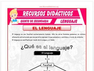 Ficha de El Lenguaje para Quinto de Secundaria