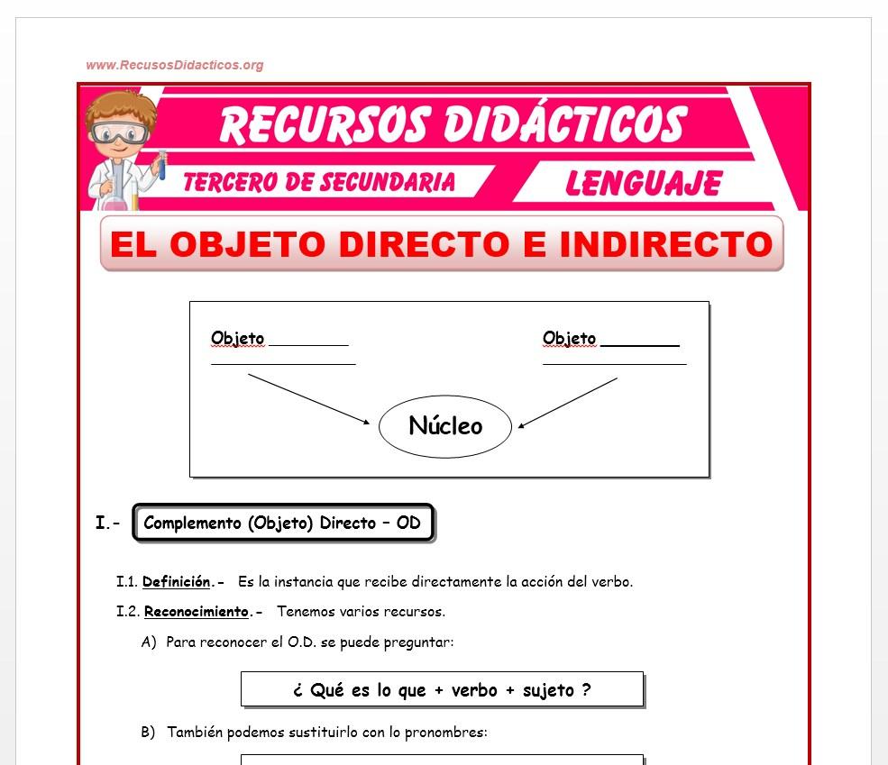 Ficha de El Objeto Directo e Indirecto para Tercero de Secundaria