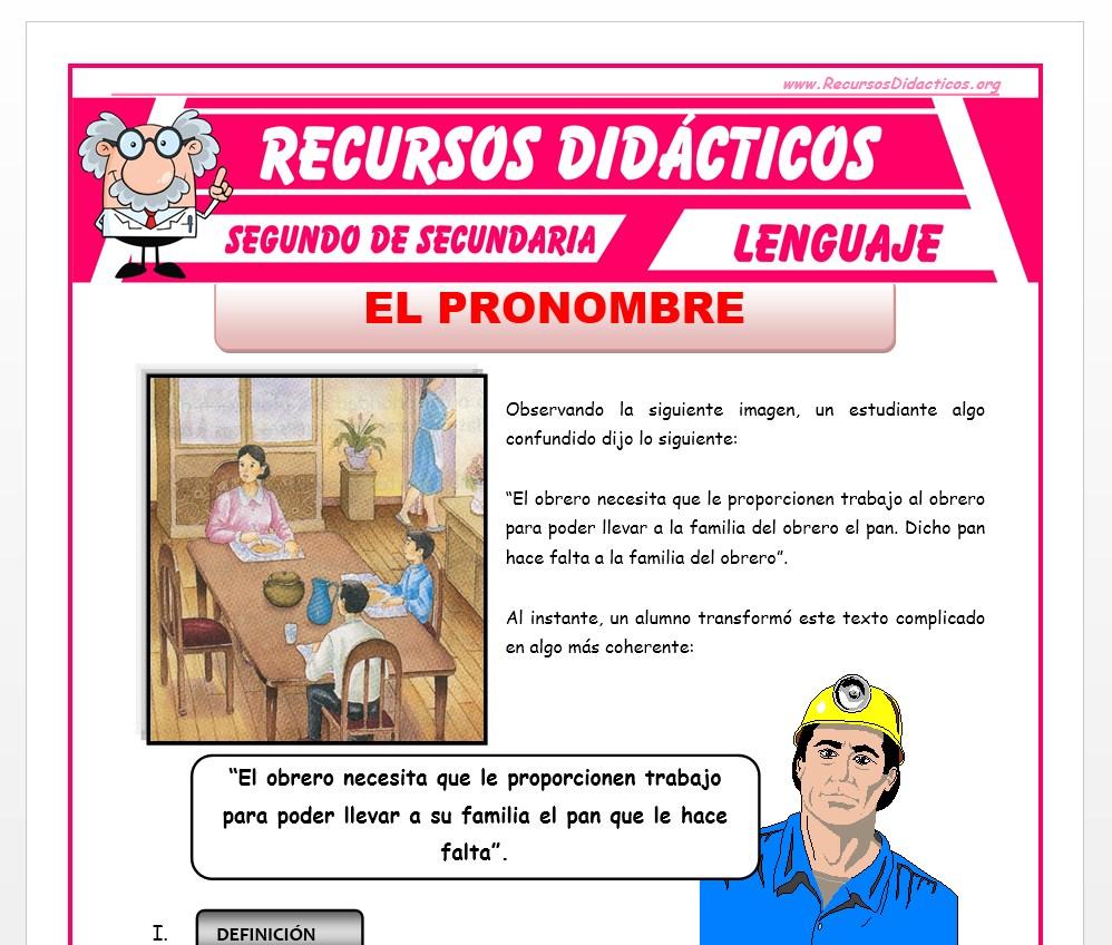Ficha de El Pronombre 1 para Segundo de Secundaria
