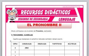 Ficha de El Pronombre 2 para Segundo de Secundaria