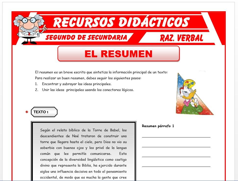 Ficha de El Resumen para Segundo de Secundaria