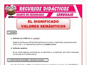 Ficha de El Significado para Cuarto de Secundaria