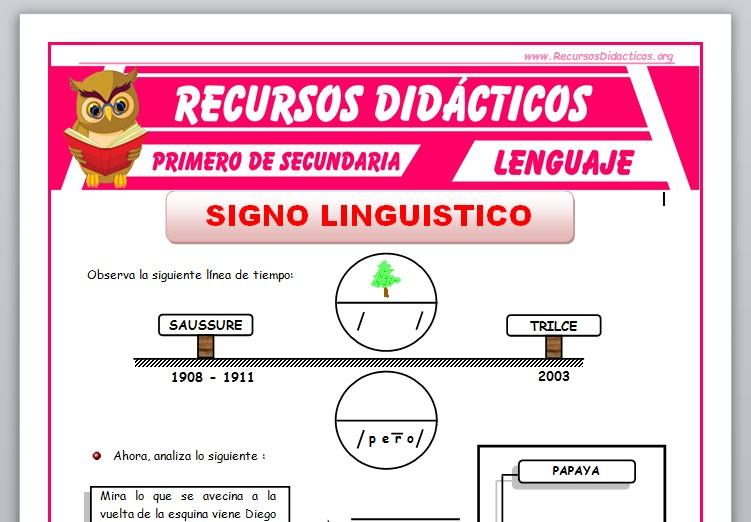 Ficha de El Signo Lingüístico para Primero de Secundaria