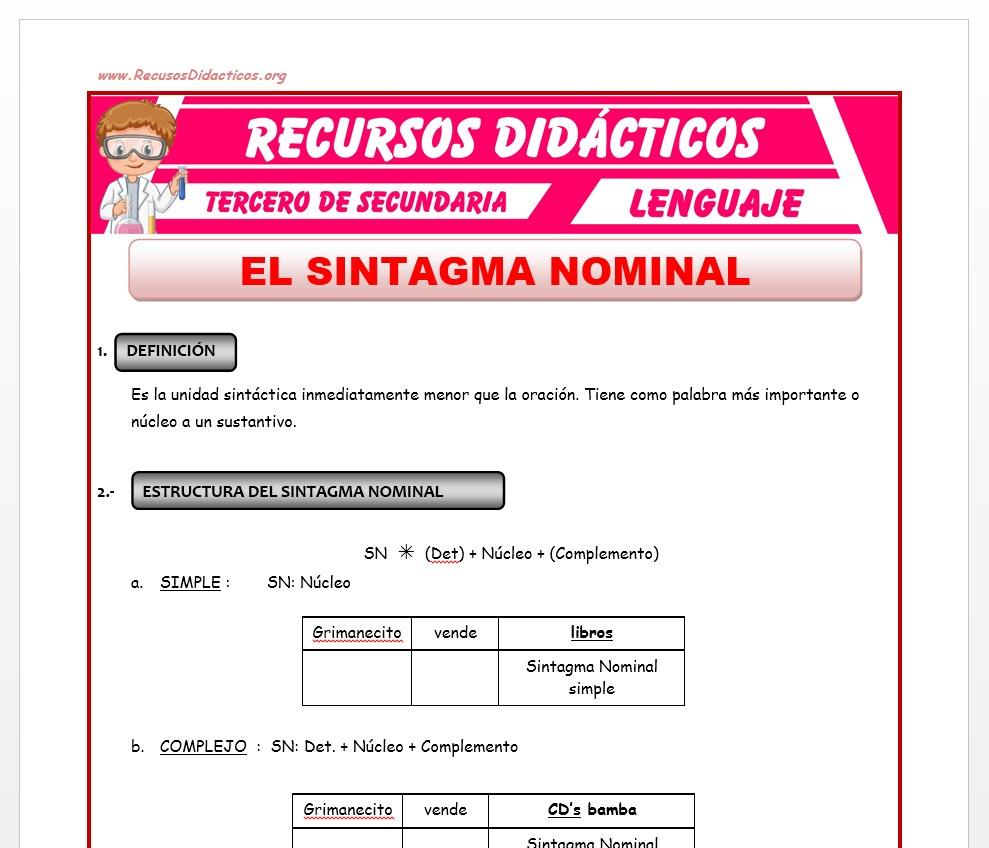 Ficha de El Sintagma Nominal para Tercero de Secundaria