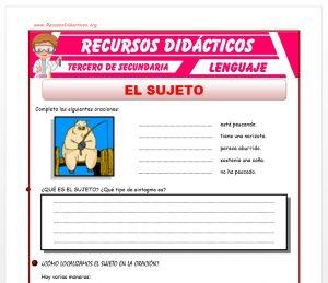 Ficha de El Sujeto para Tercero de Secundaria