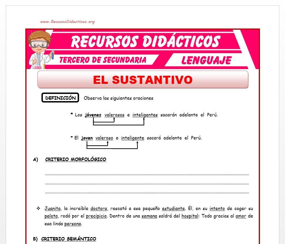 Ficha de El Sustantivo para Tercero de Secundaria