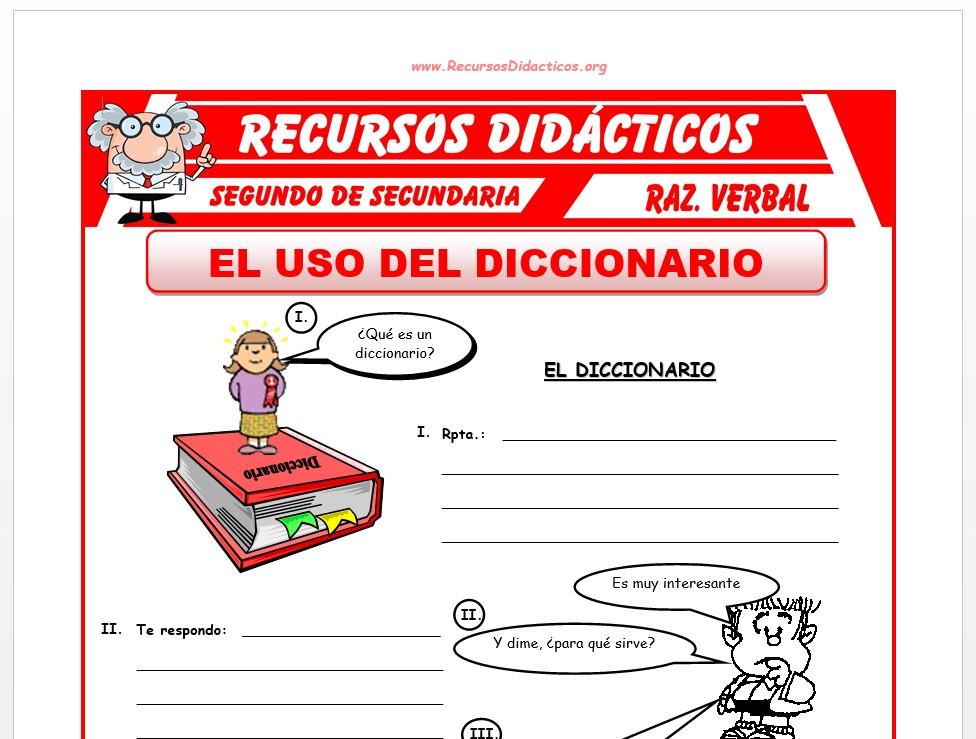 Ficha de El Uso del Diccionario para Segundo de Secundaria