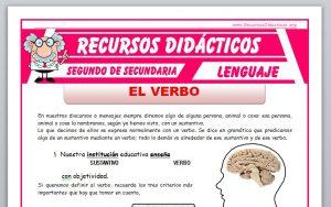 Ficha de El Verbo para Segundo de Secundaria
