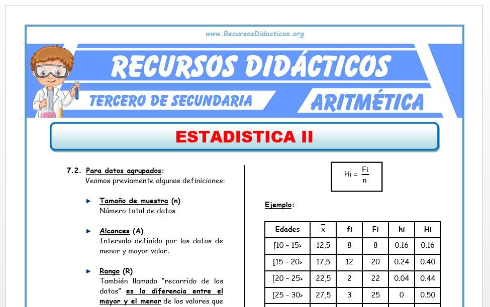 Ficha de Estadística 2 para Tercero de Secundaria