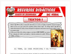 Ficha de Estructura Interna de un Texto para Cuarto de Secundaria