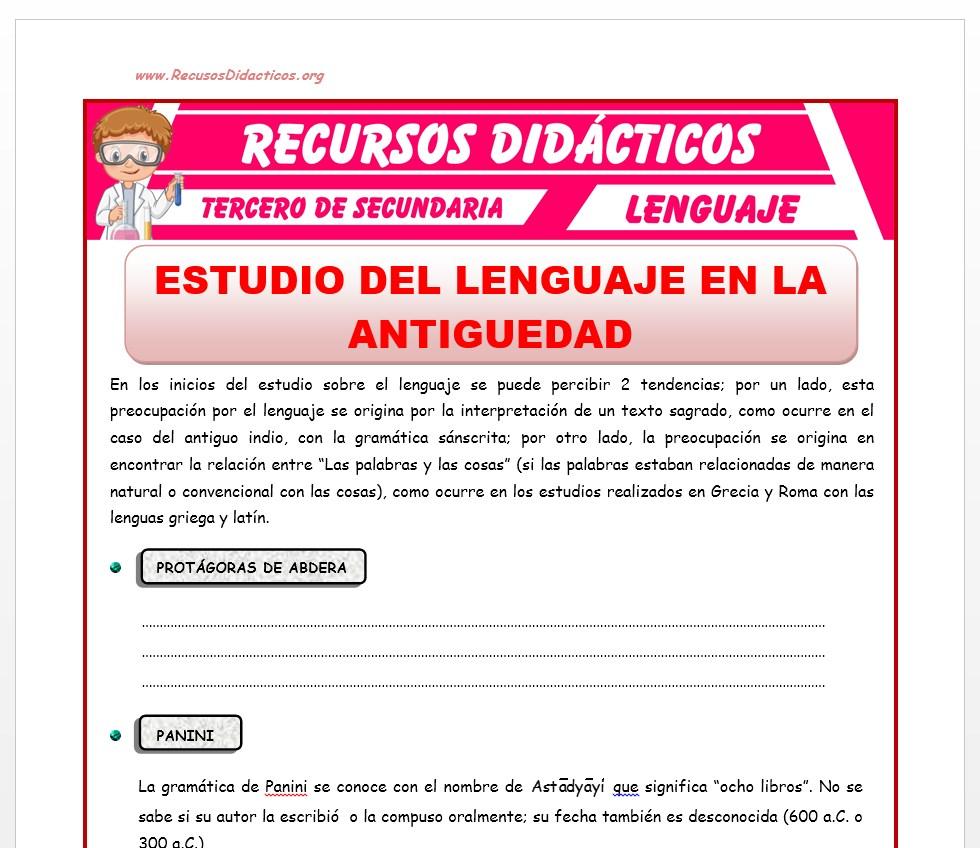 Ficha de Estudio del Lenguaje en la Antiguedad para Tercero de Secundaria