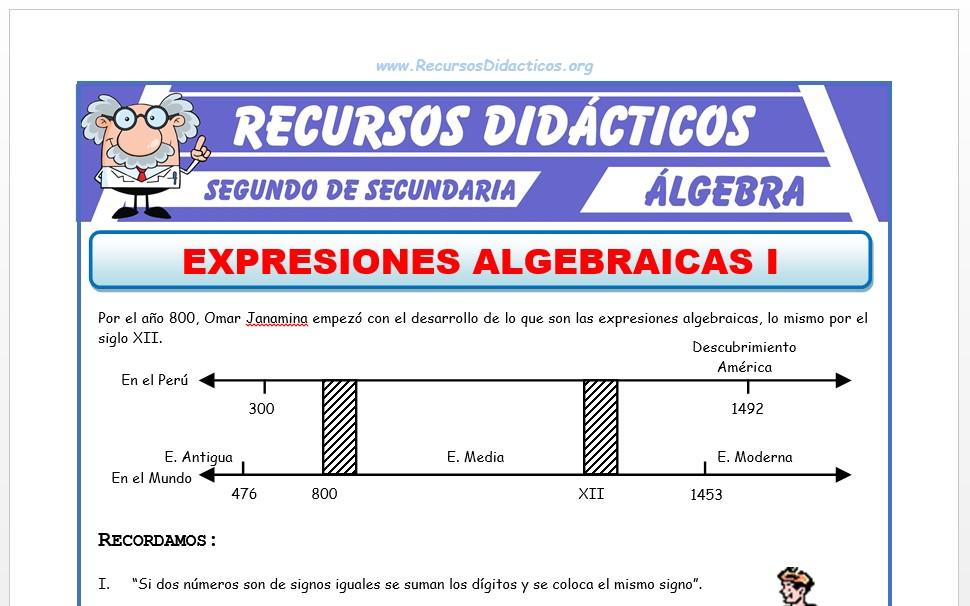 Ficha de Expresiones Algebraicas para Segundo de Secundaria