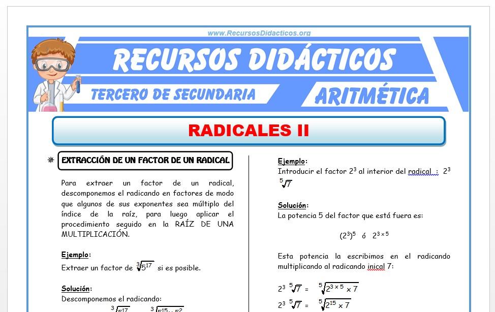 Ficha de Extracción e Introducción en un Radical para Tercero de Secundaria