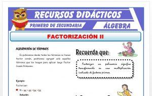 Ficha de Factorización por Agrupación de Términos para Primero de Secundaria