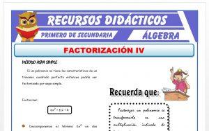 Ficha de Factorización por Aspa Simple para Primero de Secundaria