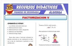 Ficha de Factorización por Combinación de Métodos para Primero de Secundaria